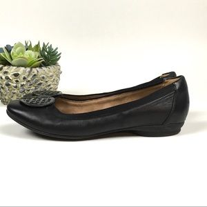Life Stride Shoes - Clark's Artisan Candra Blush Leather Flats Blk 8.5